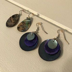 Natural Shell & Purple Dangle Earrings